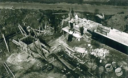 Baustelle der Bauunternehmung Gebr. Kutsch in den 60er Jahren
